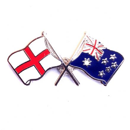 England and Australia Crossed Flags Lapel Badge